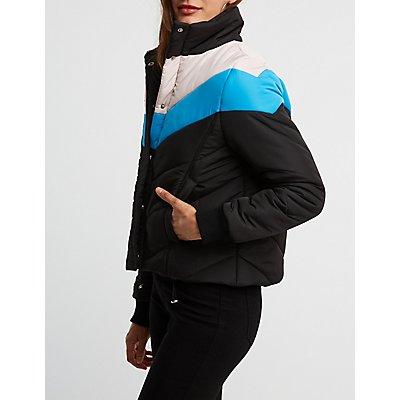 Colorblock Chevron Puffer Jacket