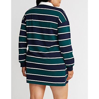 Plus Size Striped Polo Shirt Dress
