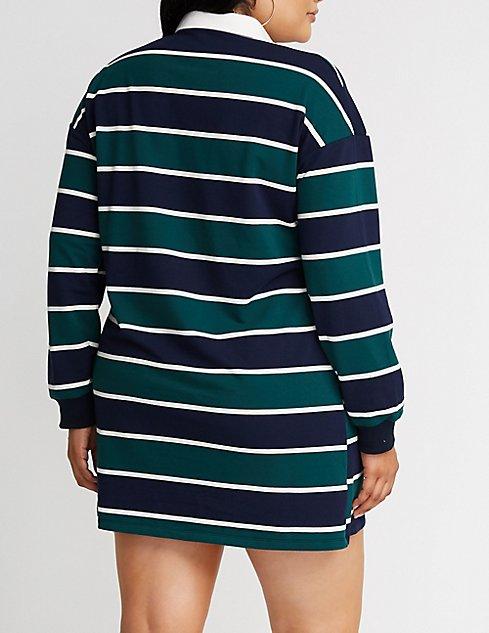 Plus Size Striped Polo Shirt Dress Charlotte Russe