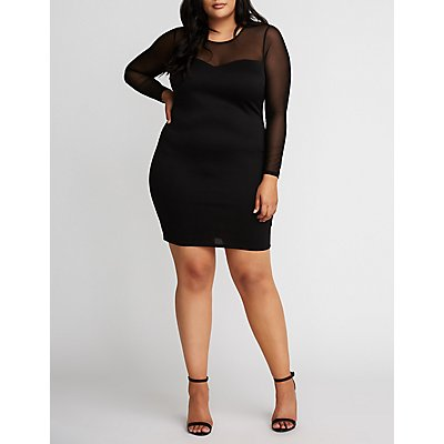 Plus Size Mesh Bodycon Dress