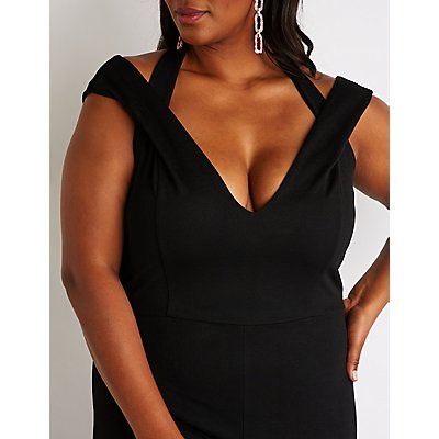 Plus Size V Neck Jumpsuit
