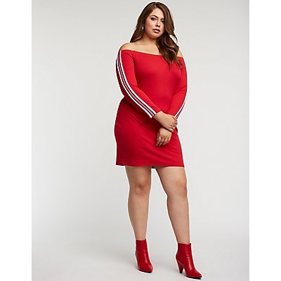 Plus Size Striped Sleeve Bodycon