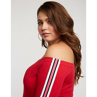 Plus Size Striped Sleeve Bodycon