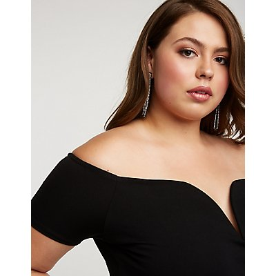 Plus Size Off The Shoulder Notched Romper
