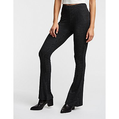 Pinstripe Flare Knit Leggings