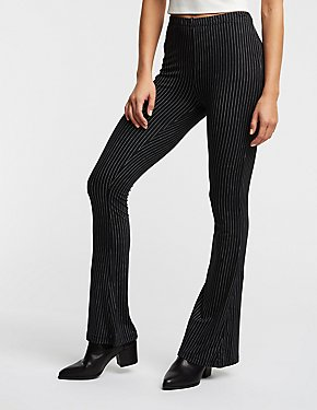 Pinstripe Flare Knit Leggings