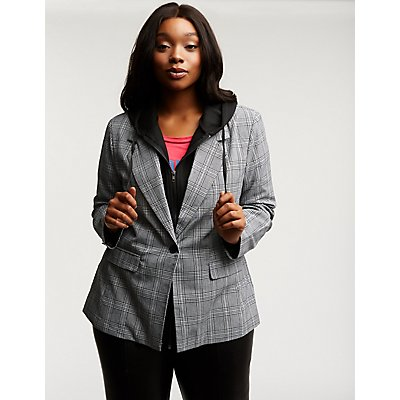 Plus Size Plaid Hooded Blazer