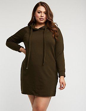 Plus Size Hooded Sweatshirt Dress