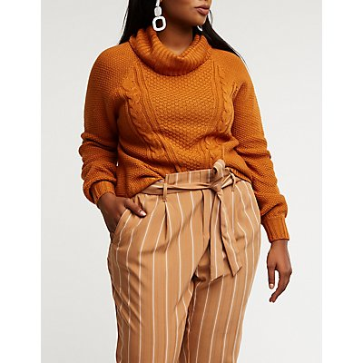 Plus Size Cowl Neck Cable Knit Pullover Sweater