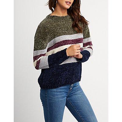 Chenille Striped Pullover Sweater