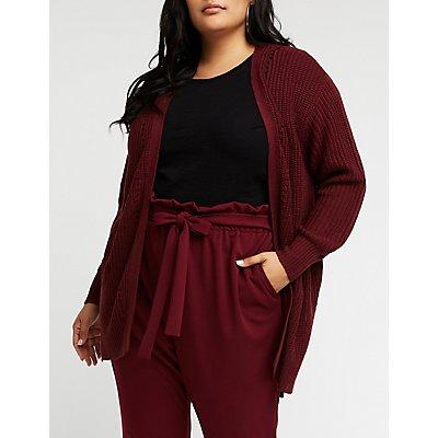 Plus Size Open Front Cardigan