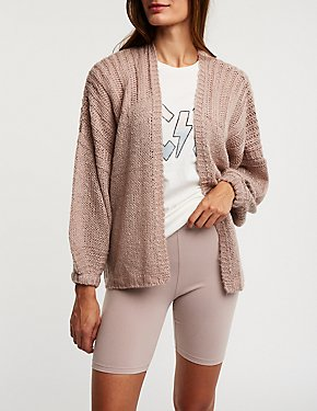 Oversize Open Front Cardigan
