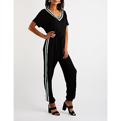 Sporty Striped Jumpsuit