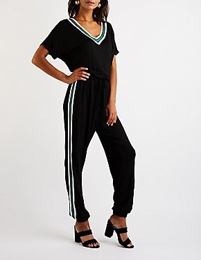 Sporty Striped Jumpsuit