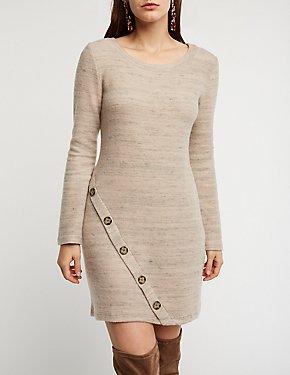 Button Detail Sweater Dress