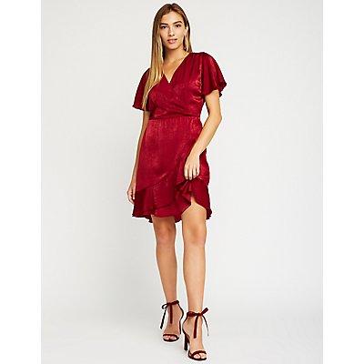 Satin Faux Wrap Dress