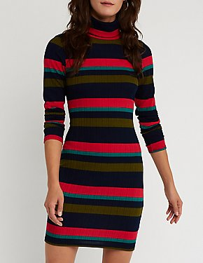 Striped Turtle Neck Dress