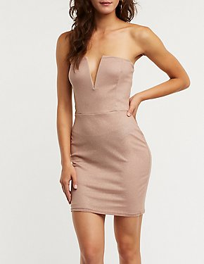 Notched Glitter Bodycon Dress