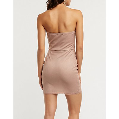 Strapless Notched Glitter Bodycon Dress