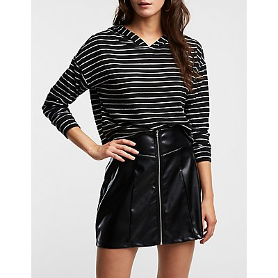 Striped Hooded Crop Top