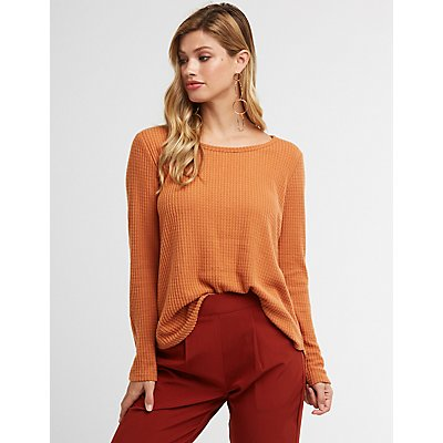 Scoop Neck Waffle Knit Top