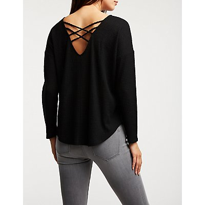 Caged Back Knit Top