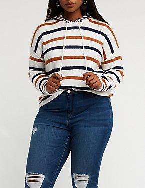 Plus Size Striped Drawstring Hoodie
