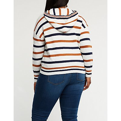 Plus Size Striped Drawstring Hoodie