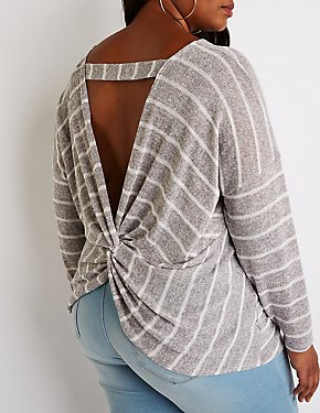 Plus Size Striped Twisted Back Pullover Sweater