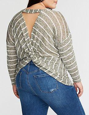 Plus Size Striped Twist Back Sweater