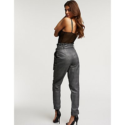 Houndstooth Metallic Paperbag Trousers