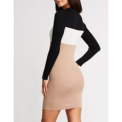Color Block Mock Neck Bodycon Dress