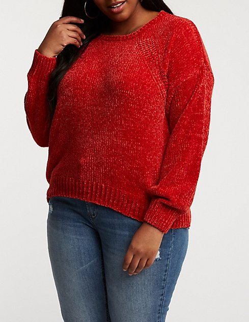 Plus Size Chenille Pullover Sweater Charlotte Russe