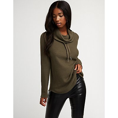 Cowl Neck Knit Pullover Top
