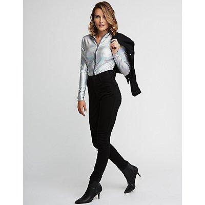 Zip Up Holographic Bodysuit