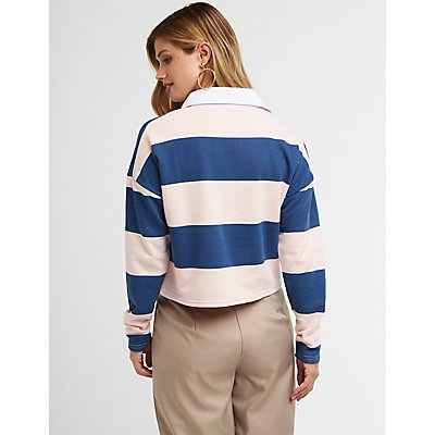 Striped Crop Polo
