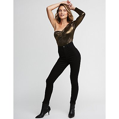 Metallic One Shoulder Bodysuit