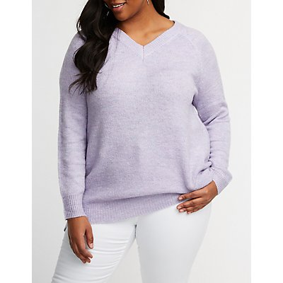 Plus Size V Neck Sweater