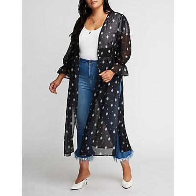 Plus Size Printed Longline Kimono