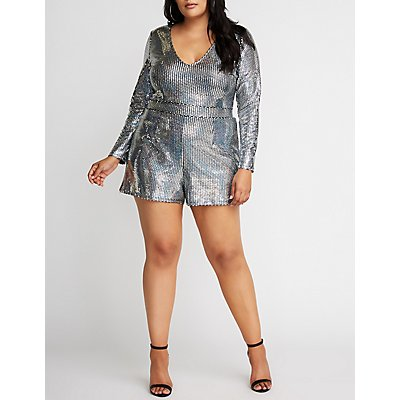 Plus Size Holographic V Neck Romper