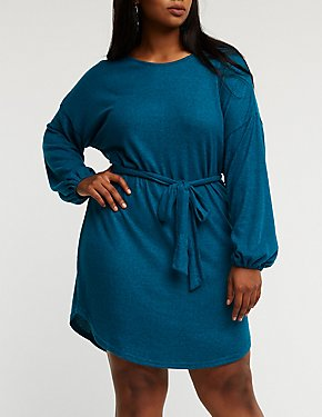 Plus Size Balloon Sleeve Knit Dress