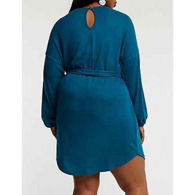 Plus Size Balloon Sleeve Knit Dress