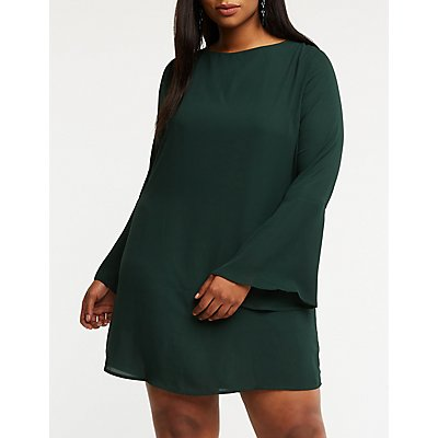 Plus Size Back Tie Shift Dress