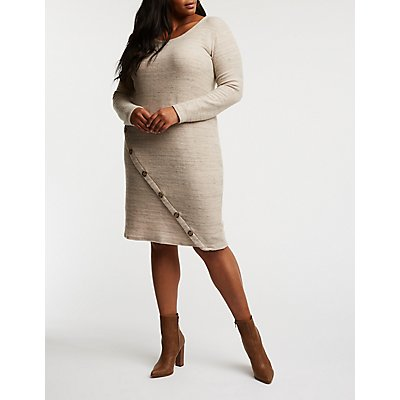 Plus Size Asymmetrical Button Up Sweater Dress