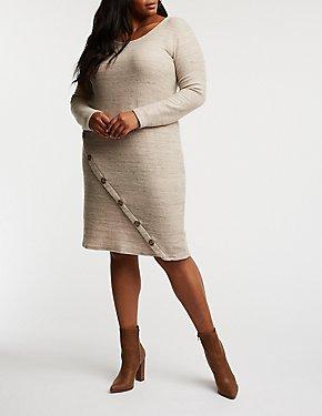 Plus Size Asymmetrical Button Up Sweater Dress
