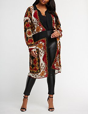Plus Size Printed Twisted Front Tunic