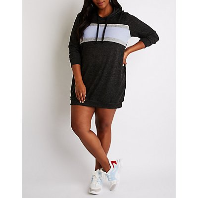 Plus Size Hooded Sweatshirt Dress