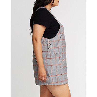 Plus Size Windowpane Shift Dress