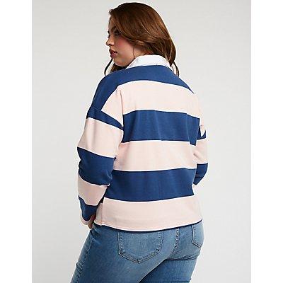 Plus Size Striped Polo