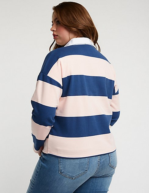Plus Size Striped Polo Charlotte Russe
